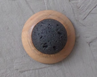 Brooch, ash wood, encased lava stone, attached with magnet - unique