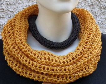 Summer scarf, hose scarf, corn yellow, cotton linen mixture