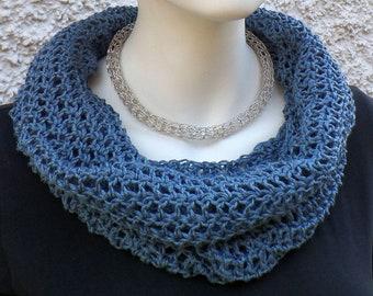 Summer scarf, hose scarf, blue, cotton linen mixture