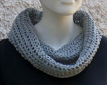 Summer scarf, hose scarf, light grey, cotton linen mixture