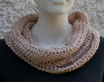 Summer scarf, hose scarf, light pink, cotton linen mixture