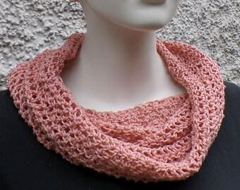 Summer scarf, hose scarf, pink, cotton linen mixture