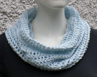 Summer scarf, hose scarf, light blue, cotton linen mixture