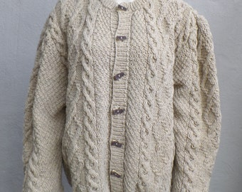 Costume cardigan with plait pattern, 100% virgin wool size L