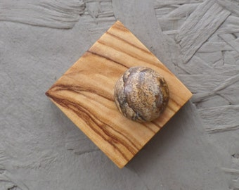 Noble wooden brooch with magnet made of olive wood with Jasper