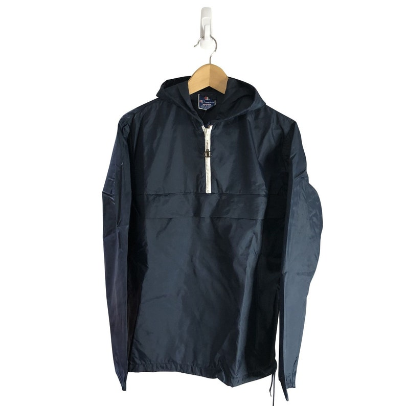 Vintage Champion 14 Zip Hooded Pullover Windbreaker *S*