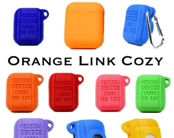 Orange Link Case - 3D Printed Rubberized Case with option for Airtag or Tile - Customize with your phone Number!