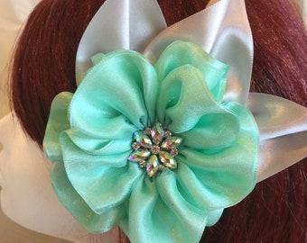 6320d05accd Organza Satin ribbon flower clip