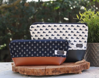 Set cosmetic bag and pencil case I Bundle maritime pattern I blue anchor I white whales