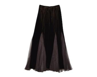 a20e58376 Brown Velvet Skirt Sheer Flare Long Boho Tulle