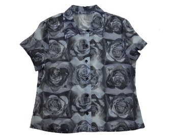 f5247c7a529af7 Vintage 90s Floral Sheer Shirt Collared Blouse Mesh See Through Short Sleeve
