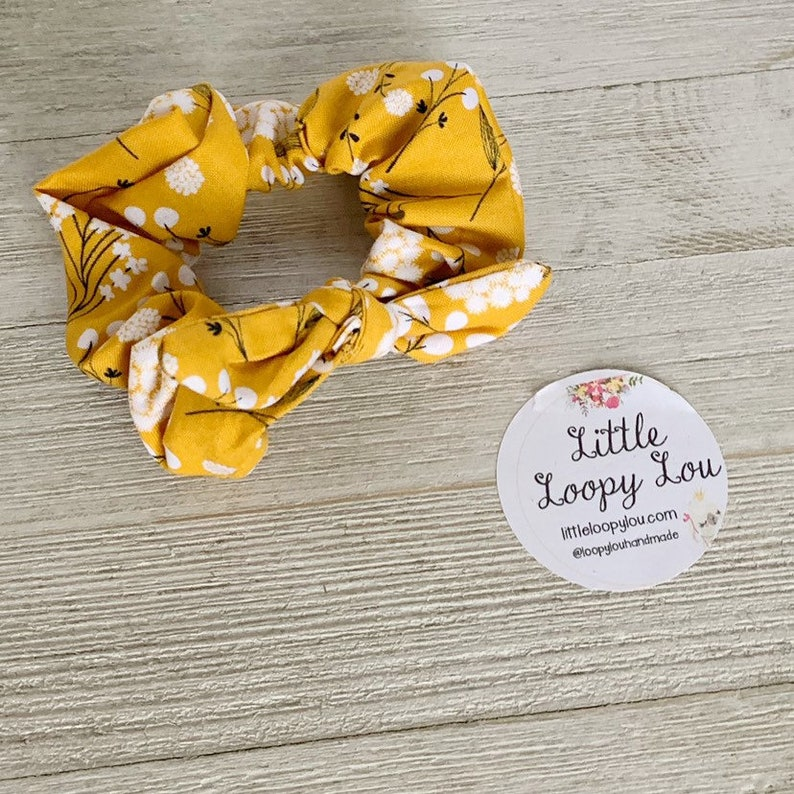 Scrunchie Bracelet 90s fashion Mustard Yellow Cotton Blossom Scrunchy Little Loopy Lou cute hair accessory Pony Tail Holder