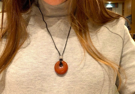 Carnelian Donut Ring Orange Crystal Cord Necklace for Creativity /& Concentration