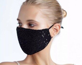 Protective mask fabric sequins ideal fetes and black wedding