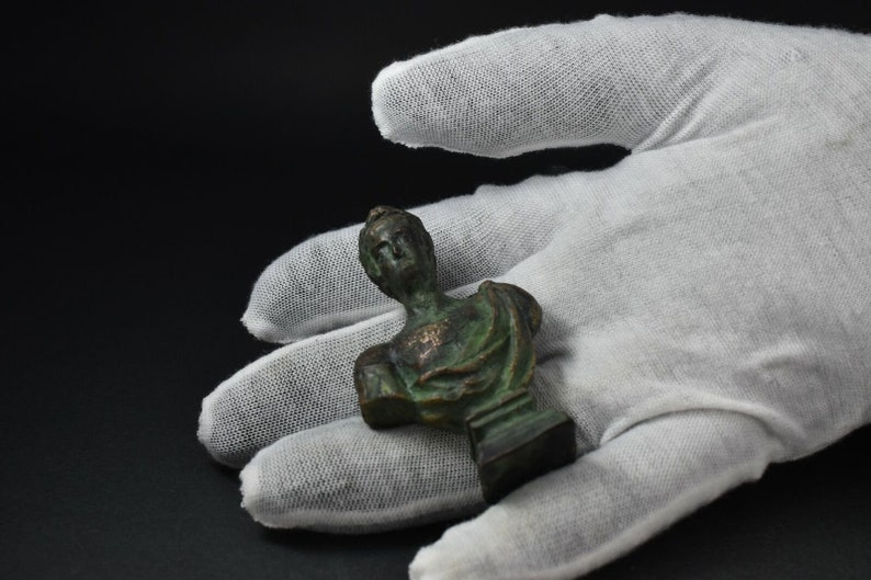 Roman Empire BUST OF CALIGULA Bronze Statuette Copy of an Original Bust Statue Hot Cast Lost Wax Casting Cire Perdue With Green Patina