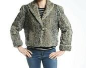 Size L Great Gray Astrakhan Fur Women Jacket Coat 78 T Super CUTE