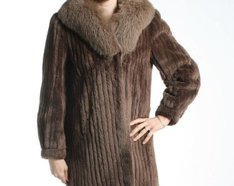 9f63e5b2b Size L Awesome Sheared Beaver & Fox Fur Women Coat
