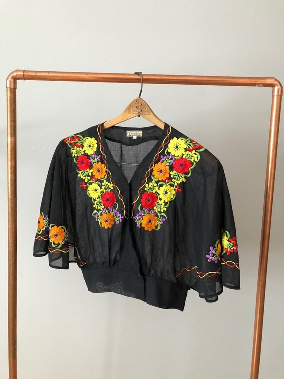 Vintage 70s Sheer Black Embroidered Peasant Blouse
