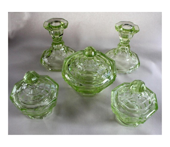 new concept 37081 c6d78 Lovely Vintage 'Uranium Green' Glass Dressing Table Set, 1930's? 3x lidded  pots, and 2 Candle Sticks