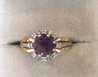Impressive Vintage Amethyst and Diamond Engagement. Statement, Dress Ring set in 14ct (14k) yellow and white Gold