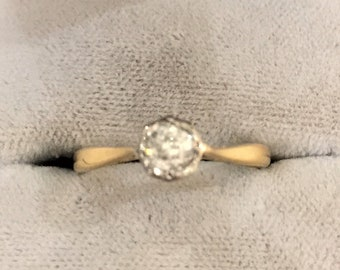 18ct Gold Vintage Diamond Solitaire Ring, Engagement Ring, Dress Ring, Statement Ring