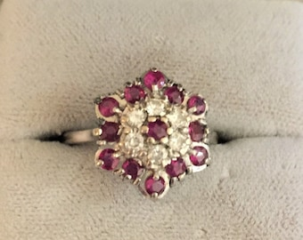 Vintage 18ct Ruby and Diamond Cluster Ring, Ruby Engagement Ring, Statement ring, Dress Ring