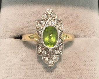 Art Deco 18ct Peridot and Diamond Navette Plaque Ring, Engagement Ring, Dress Ring, Statement Ring