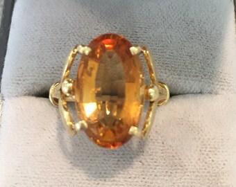 18ct Gold Citrine Dress Ring/Statement Ring/Vintage Ring