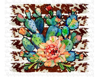 Cowhide Western Turquoise Cactus