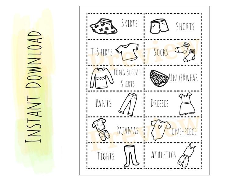 Printable Dresser Labels  Simple Organizing Labels for clothing  kids  instant download