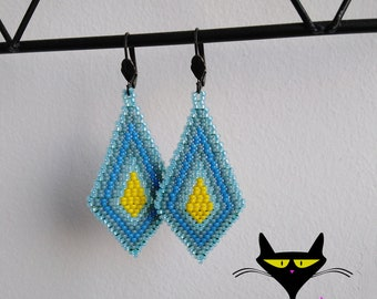 Woven earrings (blue and yellow)
