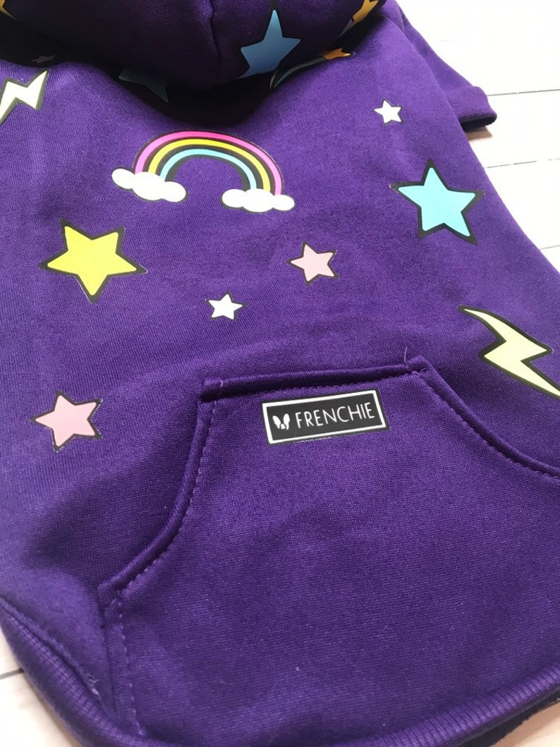 French Bulldog Apparel Dog Hoodie Lightning Bolt and Rainbows Dog Hoodie Frenchie Hoodie Vinyl Dog Hoodie Dog Hoodie for Dogs