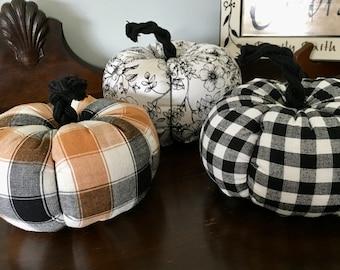 Buffalo Plaid Fabric Pumpkins, Pumpkin Decor, Fall Harvest Decor, Black and White Checked Pumpkins, Farmhouse Pumpkin Decor, Halloween Decor