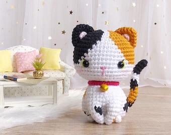 Minnie, the little calico kitten pattern | crochet cat pattern | amigurumi cat pattern | crochet calico cat | English & Spanish PDF pattern