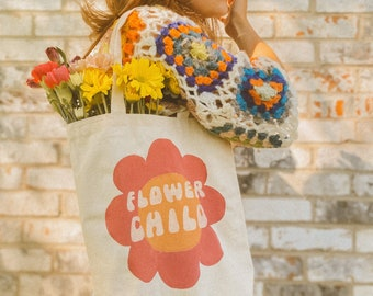 Flower Child Hand Painted Tote Bag / Sustainable Fashion