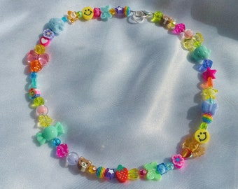Rainbow Candy Necklace - 18 inches / 90s Jewelry / Y2K Fashion