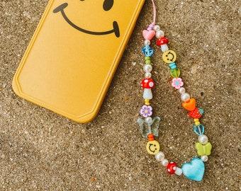 Mushroom Garden Phone Charm / 90s Inspired Phone Charm / Y2K Phone Charm / Beaded Phone Strap