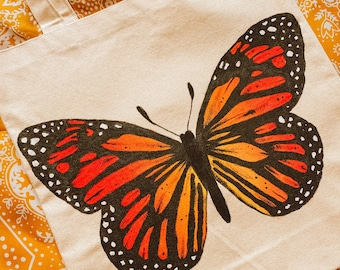 Hand Painted Tote Bag / Butterfly