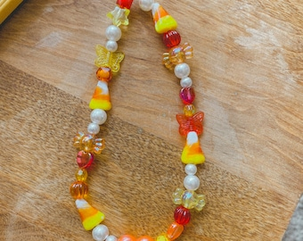Candy Corn Phone Charm - 5 Inches / Fall Jewelry / Autumn Aesthetic / 90s Jewelry / Phone Strap