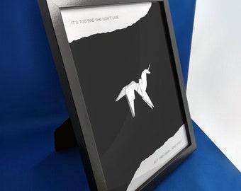 Origami Unicorn Framed - Blade Runner inspired