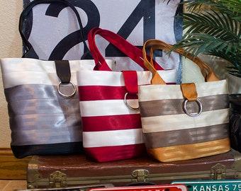 Custom Seatbelt Tote Bag,  Market Tote Bag, Travel Bag, Handbag, Laptop Bag, Work Tote (MP)
