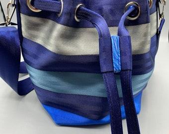 Custom Seatbelt Bucket Bag,  Market Tote Bag, Travel Bag, Handbag, Laptop Bag, Work Tote (MP)