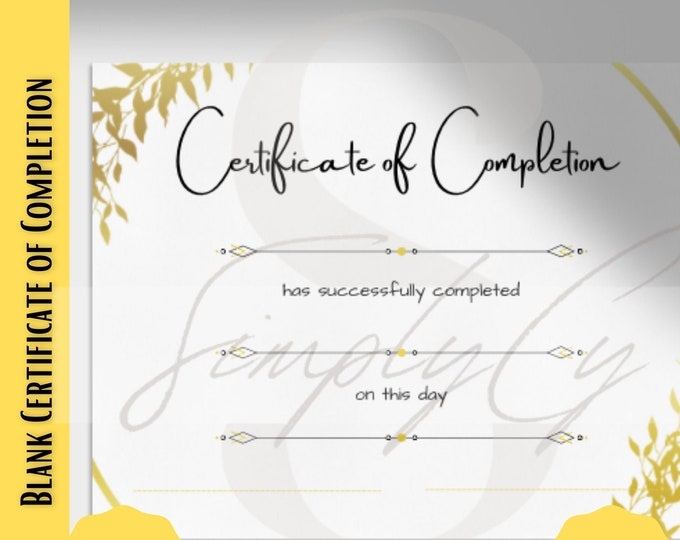 Featured listing image: DIY Certificate of Completion, Golf Certificate, Fill in your own, Completion Certificate Gold, Personalize your Certificate, DIY Award, PDF