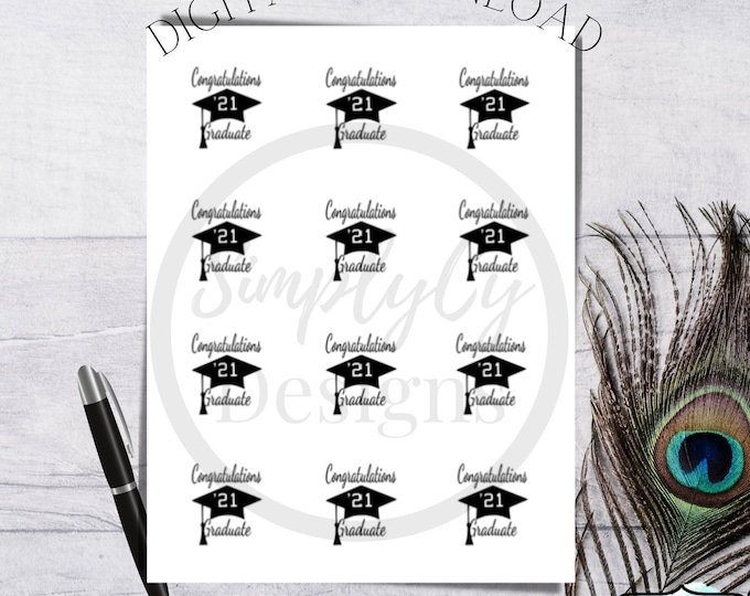 Featured listing image: Congratulations Graduate 2 in round stickers, Graduation Stickers, Graduation Labels, Digital Graduation Sticker, 2021 Graduation Stickers
