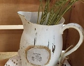 Chalk painted silver pitcher