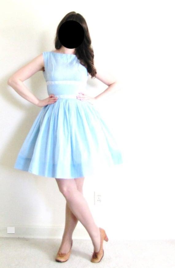 1950s Dress / 50s Dress / Light Blue 50s Dress - image 3