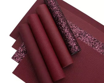 Solid Burgundy Wine Glitter or Faux Leather Sheet, glittee backing thickness may vary one pack to another