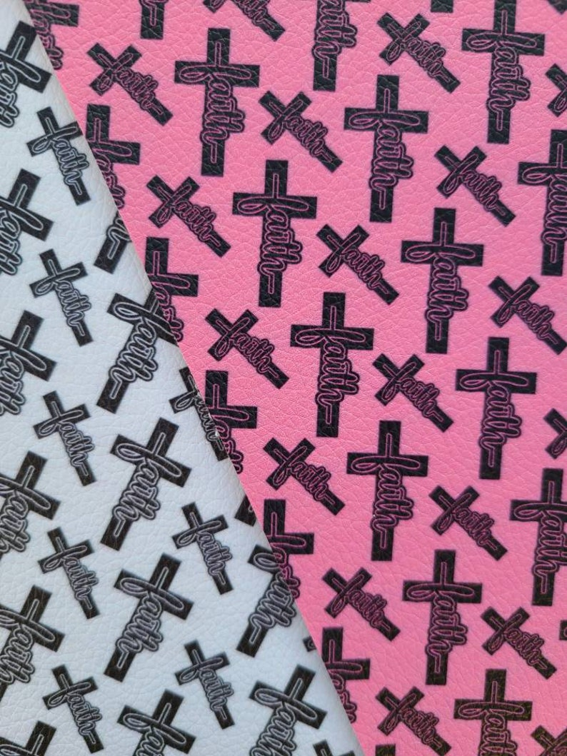 Scattered Faith Cross Faux Leather Sheet Litchi 0.9-1.0mm