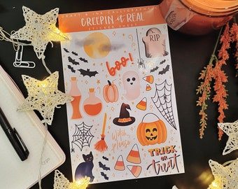 Creepin it Real - Halloween Sticker Sheet, halloween stickers for journal, planner, kids stickers