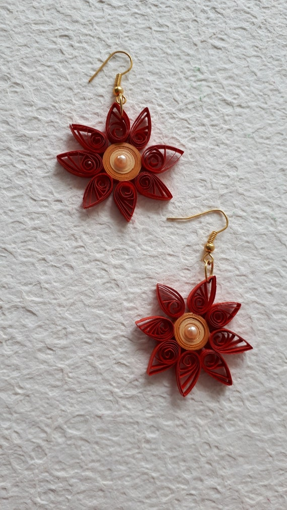 quilling earrings Circle drops